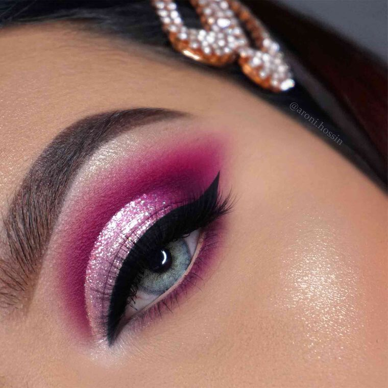 Explore the Glitter Cut Crease by @aroni.hossain featuring DIPBROW® Pomade - Dark Brown