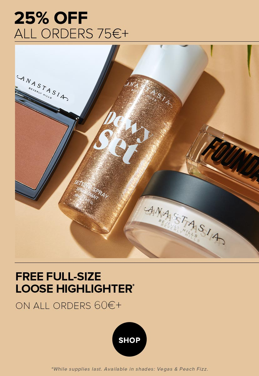 25% off €75 + Free Loose Highlighter