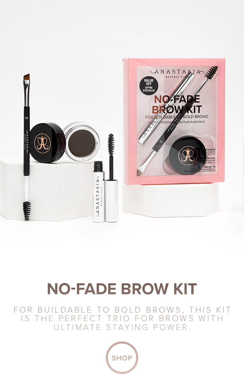 No Fade Brow Kit for bulidable to bold brows, this kit is the perfect trio for brows with ultimate staying power