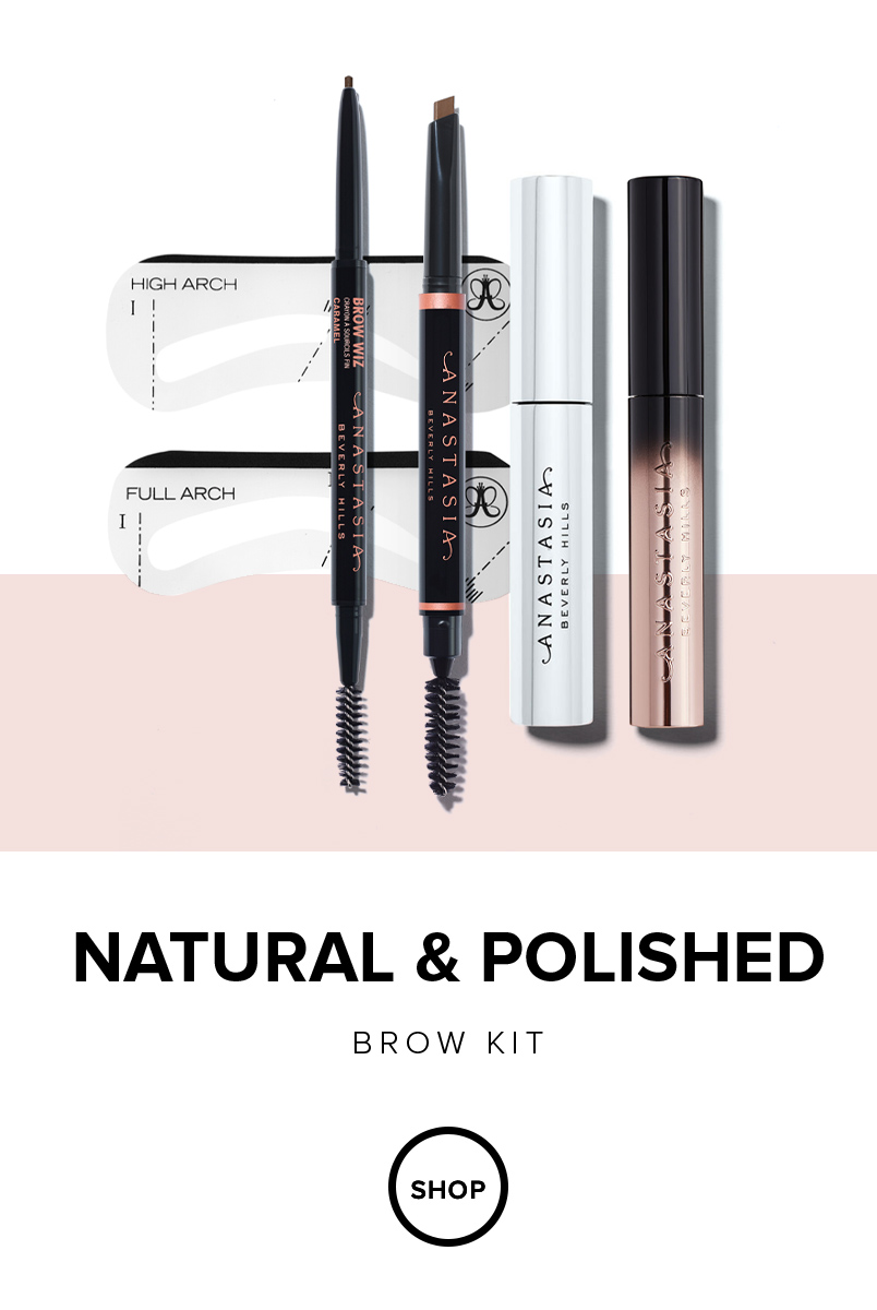 Natural & Polished Brow Kit features 3 must have brow products: Brow Definer, Brow Wiz and Clear Brow Gel plus two free gifts: Lash Brag Volumizing Mascara and a Stencil pair