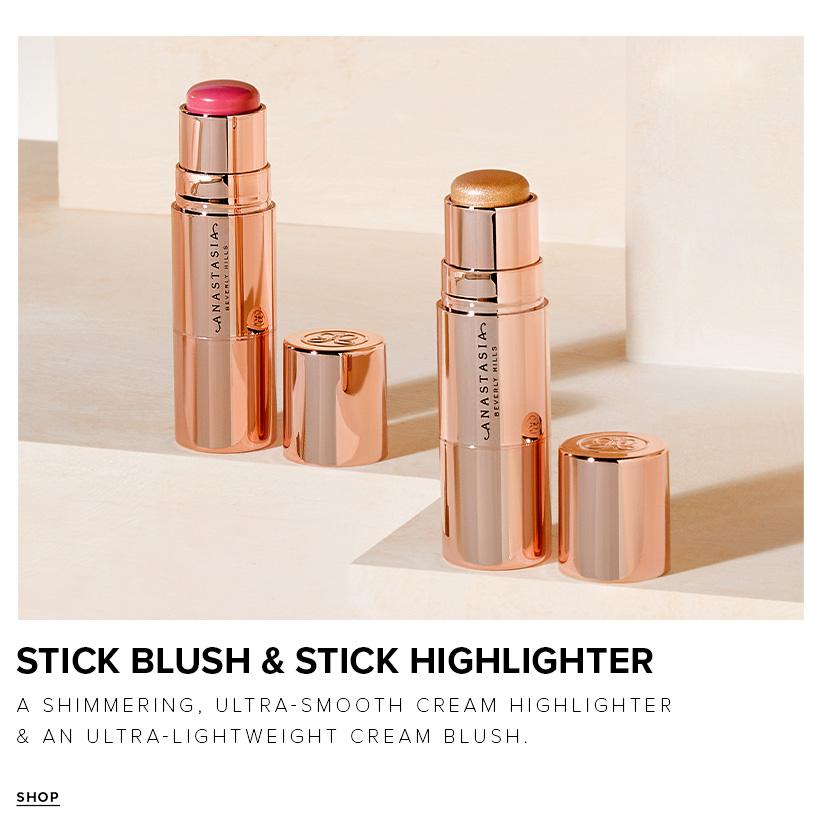 Stick Blush and Stick Highlighter - A shimmering, ultra smooth cream highlighter and an ultra lightweight cream blush