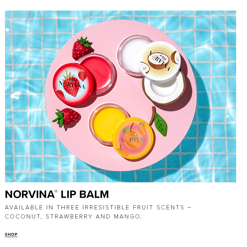Norvina Lip Balm available in three irresistible fruit scents - coconut, strawberry and mango
