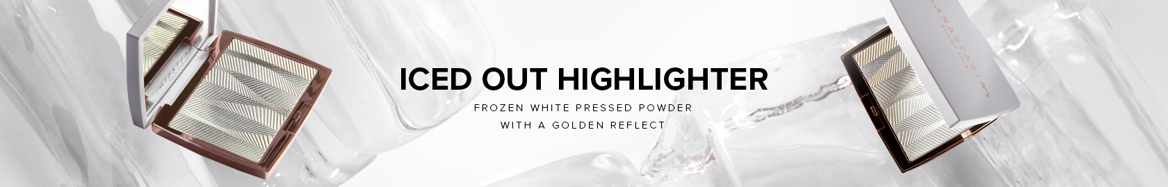 Iced Out Highlighter - Frozen White Pressed Powder with a Golden Reflect