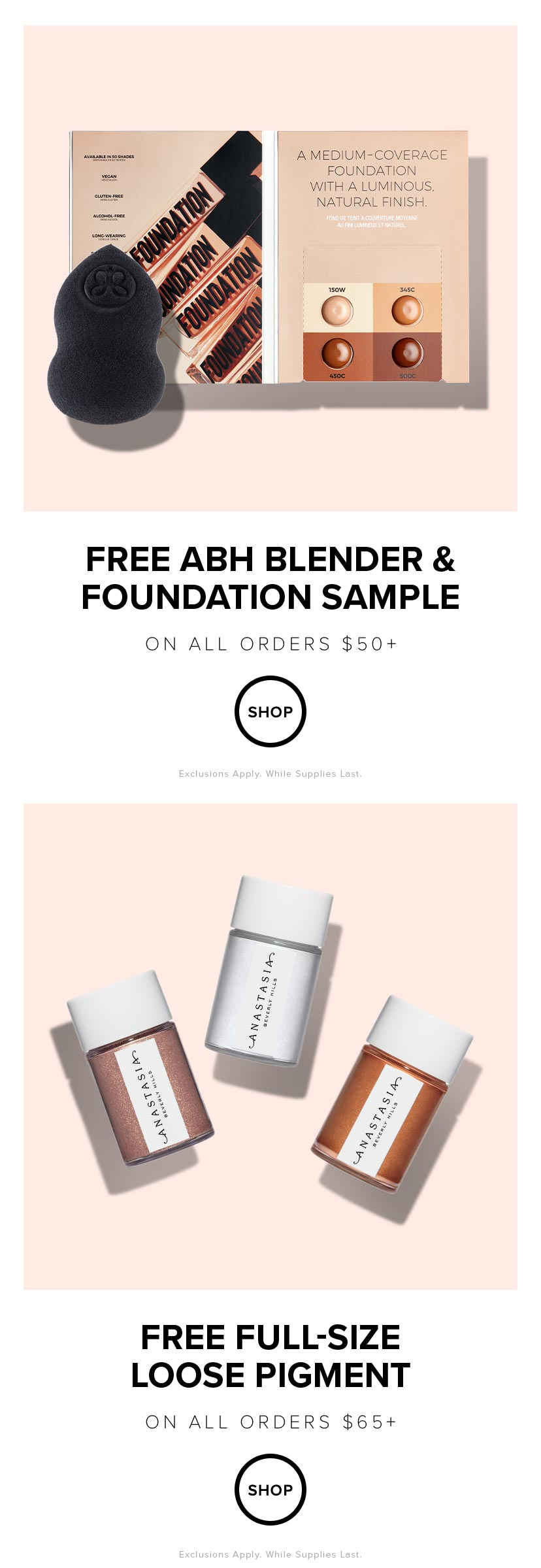 Free ABH Blender and Foundation Sample with $50 Order | Free Full Size Loose Pigment with $65 Order